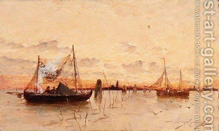 Sunset on the Lagoon by Edward Aubrey Hunt - Reproduction Oil Painting