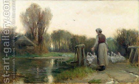 The Goose Girl by Edward Aubrey Hunt - Reproduction Oil Painting