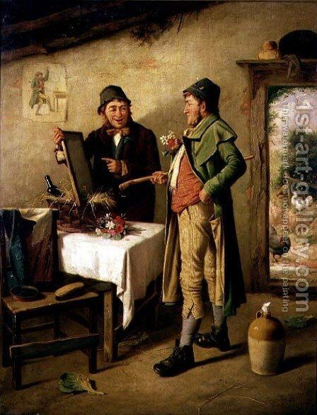 Admiring his Reflection by Charles Hunt - Reproduction Oil Painting
