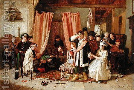 Children acting the Play Scene by Charles Hunt - Reproduction Oil Painting