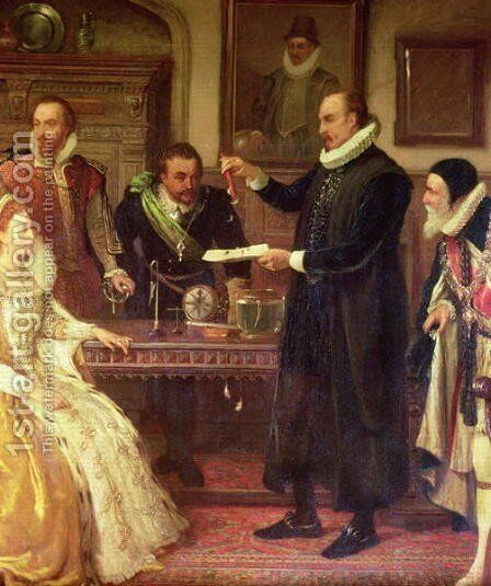 Dr William Gilberd 1540-1603 Showing his Experiment on Electricity to Queen Elizabeth I and her Court detail of Gilberd by Arthur Ackland Hunt - Reproduction Oil Painting