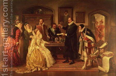 Dr William Gilberd 1540-1603 showing his Experiment on Electricity to Queen Elizabeth I and her Court by Arthur Ackland Hunt - Reproduction Oil Painting