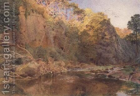 A river landscape by Alfred William Hunt - Reproduction Oil Painting