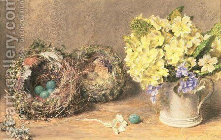 Spring Flowers And Birds Nests Painting By William Henry Hunt