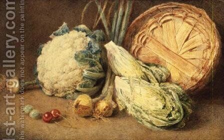 A Still Life of Vegetables by William Henry Hunt - Reproduction Oil Painting