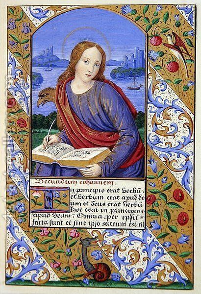 Portrait of St John from The Art of Illumination and Missal Painting by Henry Noel Humphreys - Reproduction Oil Painting