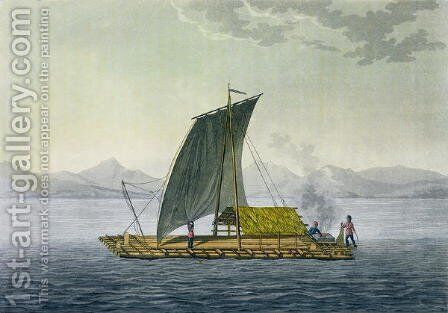 A raft leaving the port of Guayaquil Ecuador by (after) Humboldt, Friedrich Alexander, Baron von - Reproduction Oil Painting