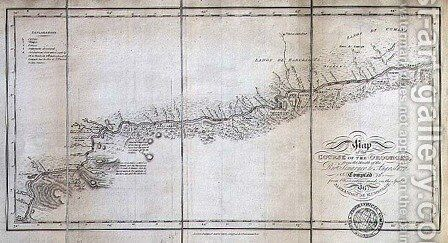 Map of the course of the Oroonoko from the Mouth of the Rio Sinaruco to Angostura by (after) Humboldt, Friedrich Alexander, Baron von - Reproduction Oil Painting