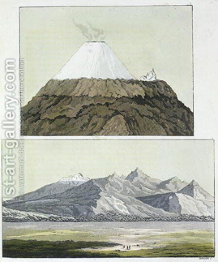 Summit of Cotopaxi and the eruption of Cotopaxi by (after) Humboldt, Friedrich Alexander, Baron von - Reproduction Oil Painting