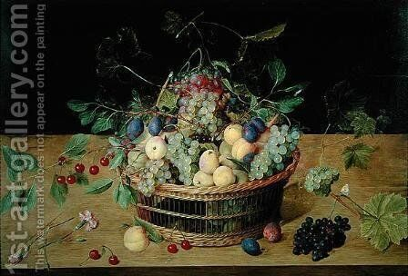 A Basket of Fruit by Jacob van Hulsdonck - Reproduction Oil Painting