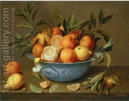 Still Life with Oranges and Lemons in a Wan Li Porcelain Dish by Jacob van Hulsdonck - Reproduction Oil Painting