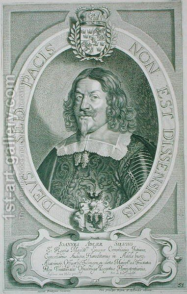 Johann Adler Salvius 1590-1652 by (after) Hulle, Anselmus van - Reproduction Oil Painting