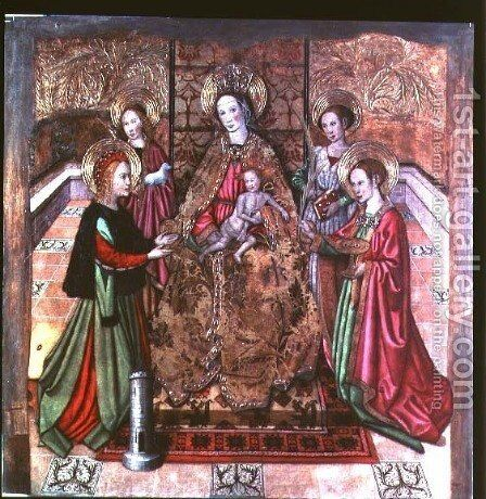 The Virgin and Child with St Ines and St Barbara by Jaume Huguet - Reproduction Oil Painting