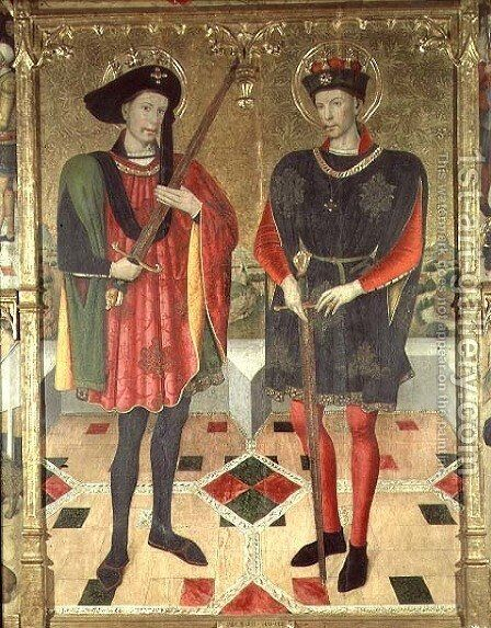 St Abdon and St Sennen martyrs who died in Rome by Jaume Huguet - Reproduction Oil Painting