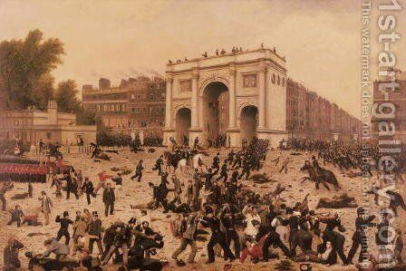 Manhood Suffrage Riots in Hyde Park by Nathan Hughes - Reproduction Oil Painting