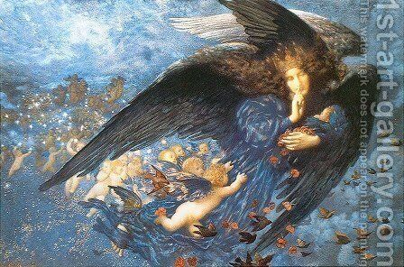 Night with her Train of Stars by Edward Robert Hughes - Reproduction Oil Painting