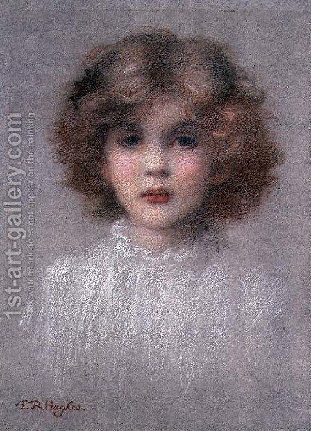 Portrait of a Young Girl by Edward Robert Hughes - Reproduction Oil Painting