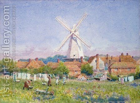 Women Hanging Washing Cranbrook Mill Kent by A. Foord Hughes - Reproduction Oil Painting