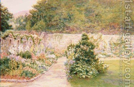 The Garden at Undermount Bonchurch Isle of Wight with St Boniface in the distance by A. Foord Hughes - Reproduction Oil Painting