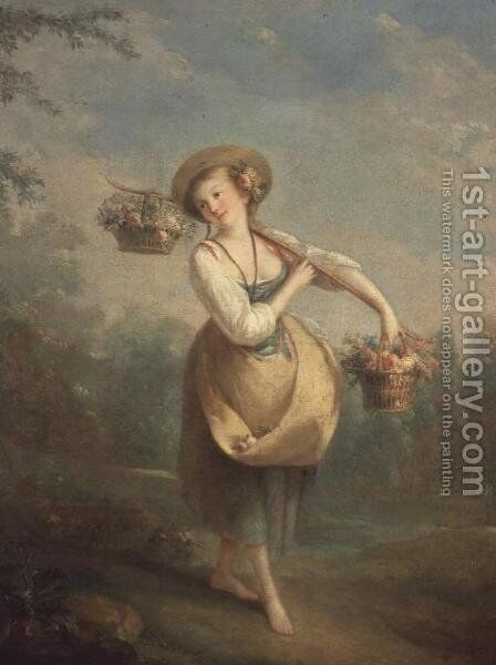 The Flower Girl by Jean-Baptiste Huet - Reproduction Oil Painting