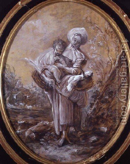 Woman with Child in Country Landscape by Jean-Baptiste Huet - Reproduction Oil Painting