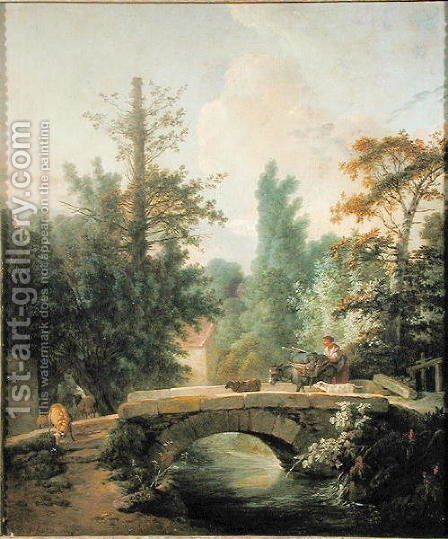 Peasant and her Donkey Crossing a Bridge by Jean-Baptiste Huet - Reproduction Oil Painting