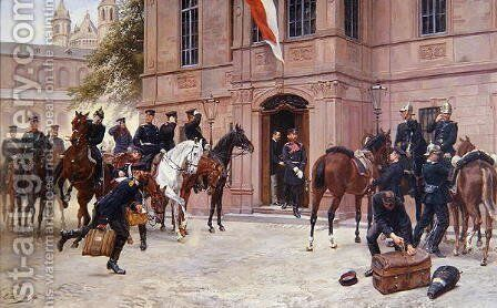 Crown Prince Ludwig IV of Hesse Darmstadt bidding Cornelius Heyl farewell by Emil Huenten - Reproduction Oil Painting