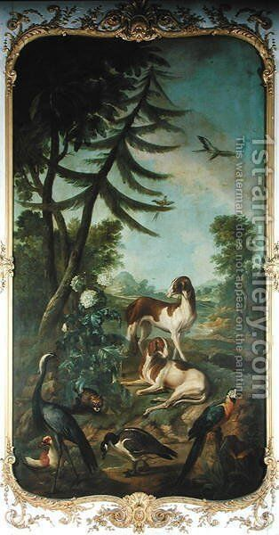 A Macaw a Barbary Duck a Canada Goose a Crane and Two Dogs by Christophe Huet - Reproduction Oil Painting