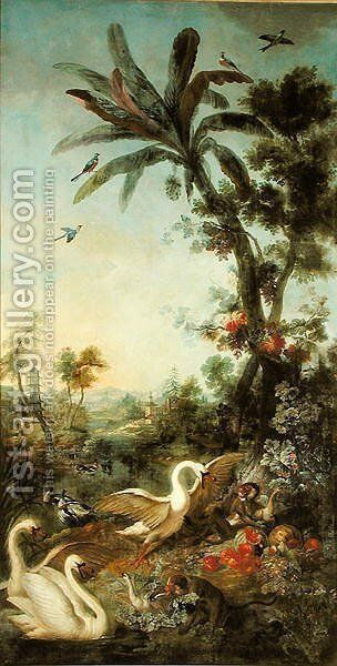 Monkeys and Swans panel from the bedroom of Louis Henri I 1692-1740 Prince de Conde by Christophe Huet - Reproduction Oil Painting
