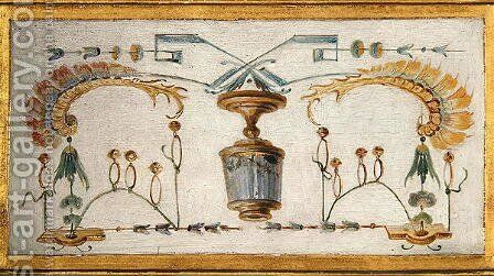 Bottle decorated with insects and bells from La Grande Singerie by Christophe Huet - Reproduction Oil Painting