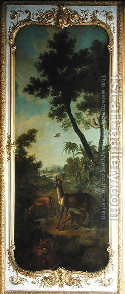A Roe Deer a Doe and a Fawn with a Fox Eating a Pheasant panel from the bedroom of Louis Henri I 1692-1740 Prince de Conde by Christophe Huet - Reproduction Oil Painting