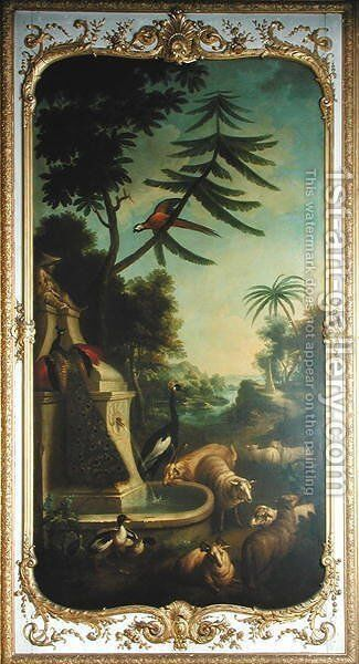 A Crested Crane a Peacock a Macaw a Shelduck and Markhors panel from the bedroom of Louis Henri I 1692-1740 Prince de Conde by Christophe Huet - Reproduction Oil Painting