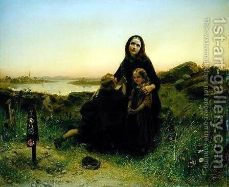 The Mourning Widow by Carl Wilhelm Huebner - Reproduction Oil Painting