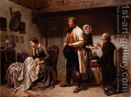 A toast to the engaged couple by Carl Wilhelm Huebner - Reproduction Oil Painting
