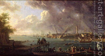View of the Port of Lorient by Jean-Francois Hue - Reproduction Oil Painting
