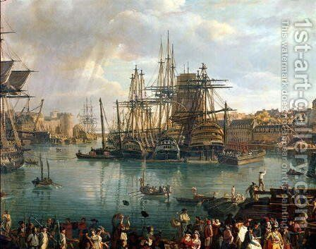 The Port of Brest with a view of shipping 1794 by Jean-Francois Hue - Reproduction Oil Painting