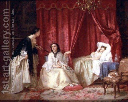 Visiting a sick friend by Charles Desire Hue - Reproduction Oil Painting