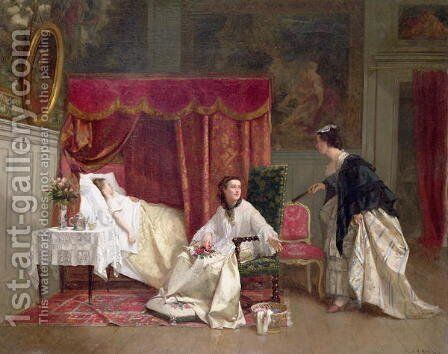 Welcoming the Visitor by Charles Desire Hue - Reproduction Oil Painting