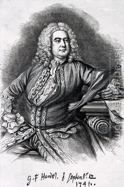 George Frederick Handel by (after) Hudson, Thomas - Reproduction Oil Painting