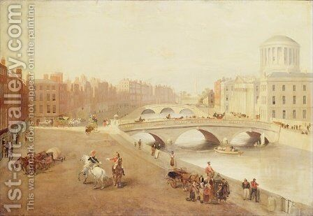 The River Liffey and the Law Courts Dublin by J. Huberts - Reproduction Oil Painting
