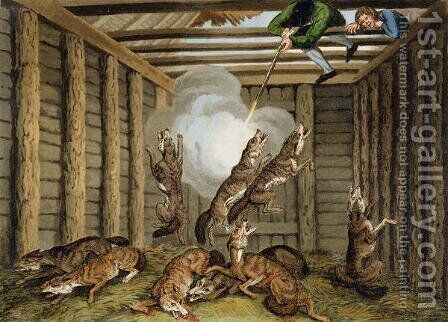 American Anecdote Shooting the Wolves by (after) Howitt, Samuel - Reproduction Oil Painting