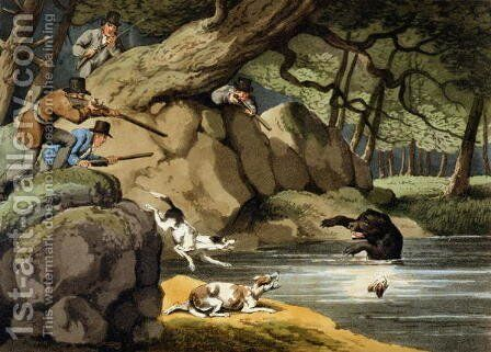 North America Bear Hunt by (after) Howitt, Samuel - Reproduction Oil Painting