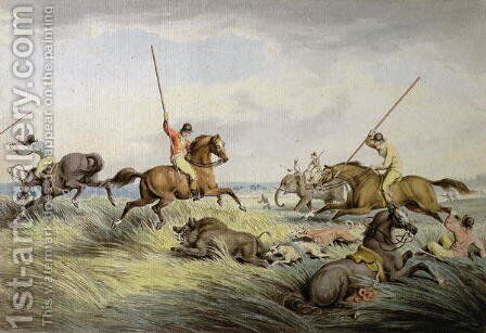 The Hog Chase  The Kill by Samuel Howitt - Reproduction Oil Painting