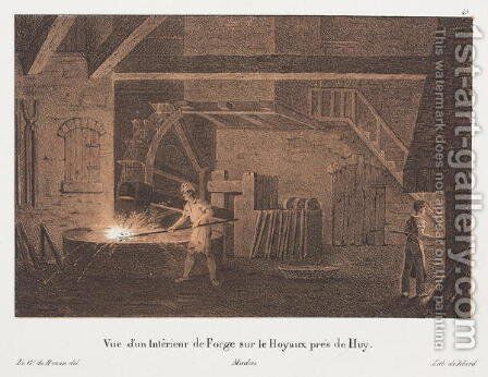 Interior of a Forge near Huy Belgium by (after) Howen, Anton de - Reproduction Oil Painting