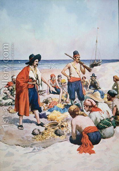 Pirates counting their spoils by (after) Howard, C.T. - Reproduction Oil Painting