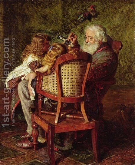 Grandfathers Jack in the Box by Arthur Boyd Houghton - Reproduction Oil Painting