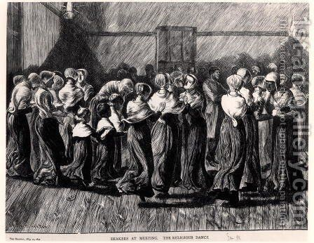 Shakers at a Meeting the Religious Dance by (after) Houghton, Arthur Boyd - Reproduction Oil Painting