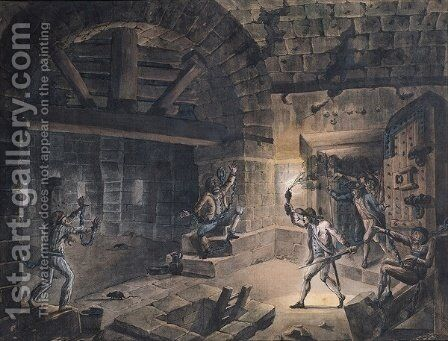 View of a cell in the Bastille at the moment of releasing prisoners by Jean-Pierr Houel - Reproduction Oil Painting