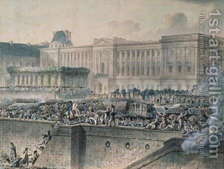 The Arrival of Louis XVI 1754-93 in Front of the Louvre by Jean-Pierr Houel - Reproduction Oil Painting