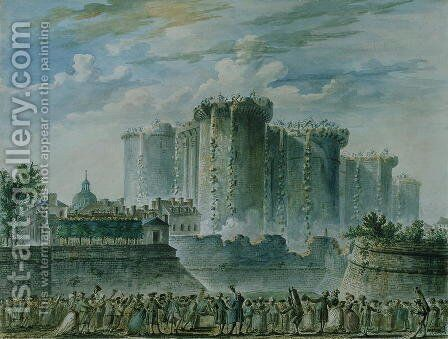 The Destruction of the Bastille by Jean-Pierr Houel - Reproduction Oil Painting